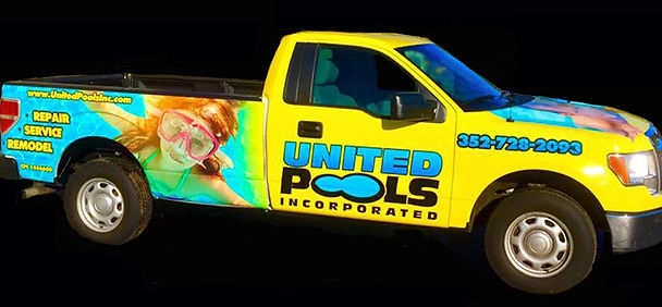 United pools yellow service truck