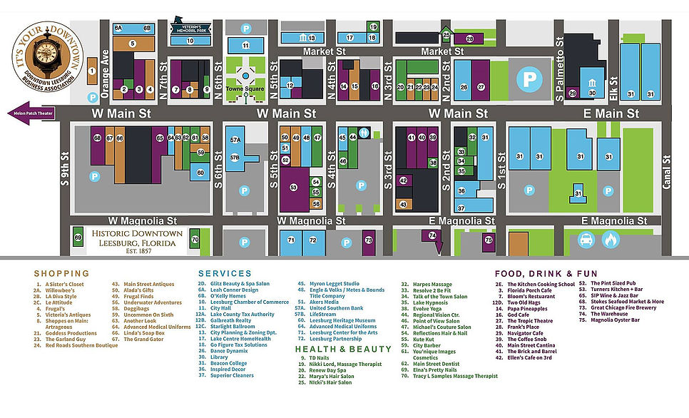 Downtown Leesburg FL Business Map