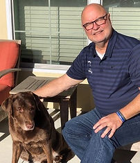 Owner Neil Kimball with his dog