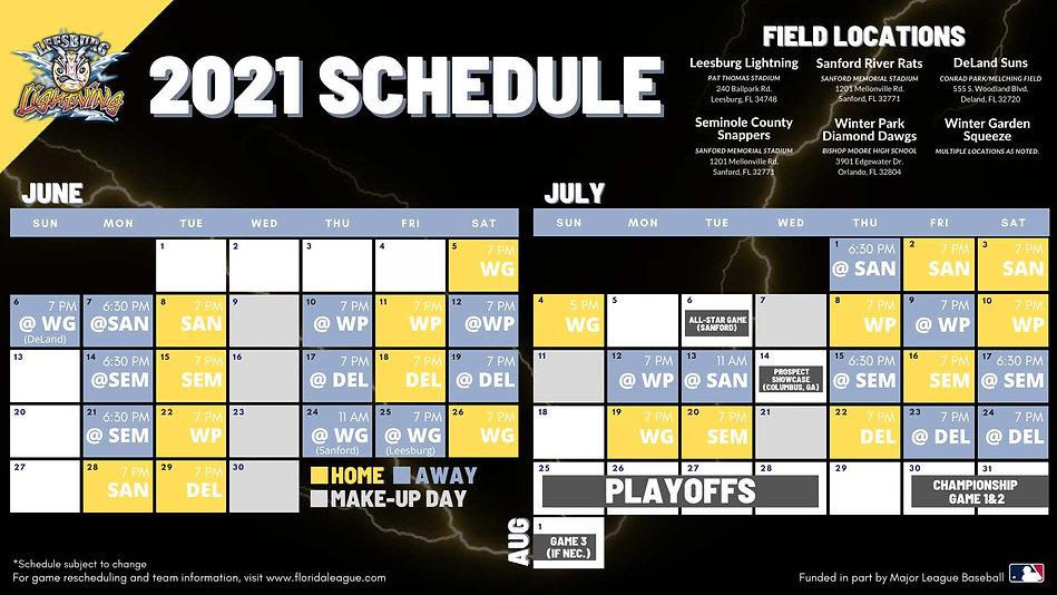 2021 Lightning Schedule