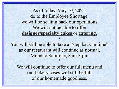 No Designer Cakes 5-10-2021
