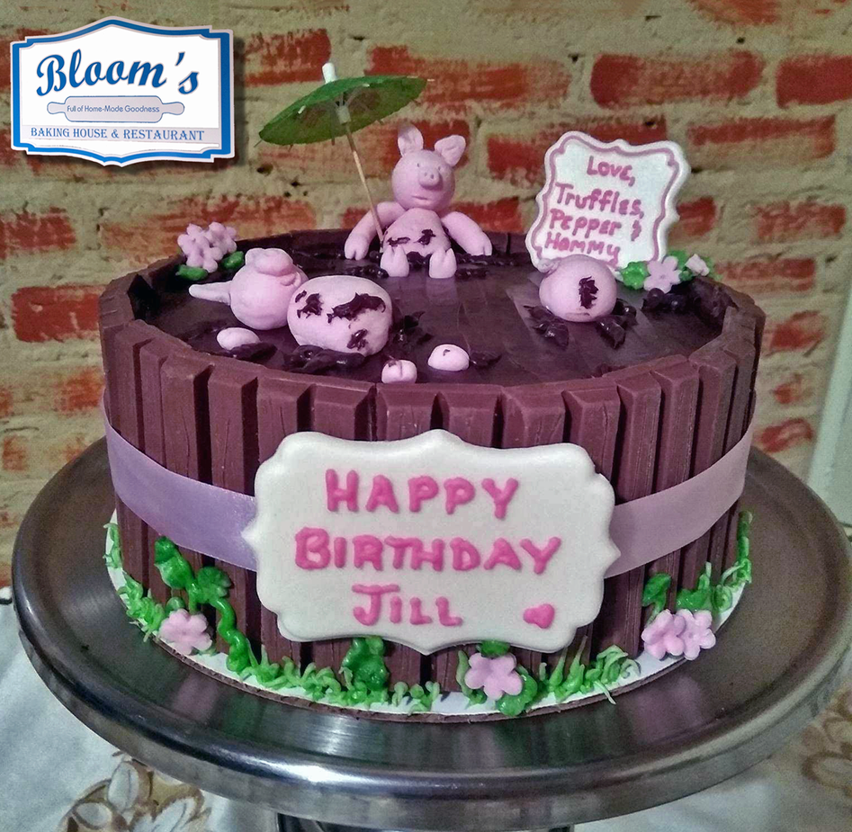 Chocolate piglet birthday cake