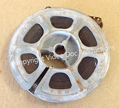 Film reels with white powder are in bad condition
