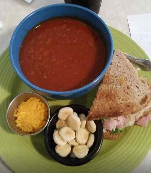Soup and a half sandwich