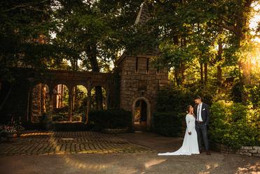 Hammond castle wedding photo of bride and groom