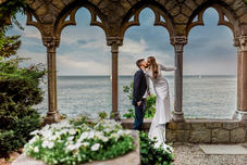 Bride and Groom Photograph at Hammond Castle Wedding in Gloucester Massachusetts