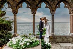 Bride and Groom Photograph at Hammond Castle Wedding in Gloucester Massachusetts