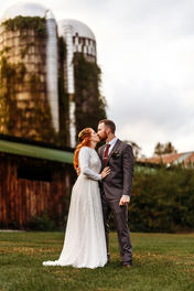 Bride and Groom Wedding Photography at Rockingham Hill Farm in Vermont Fall Foliage Wedding Photograph by Anne-Marie Photography