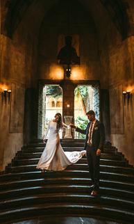 Hammond castle wedding in Gloucester Massachusetts Bride and groom portrait