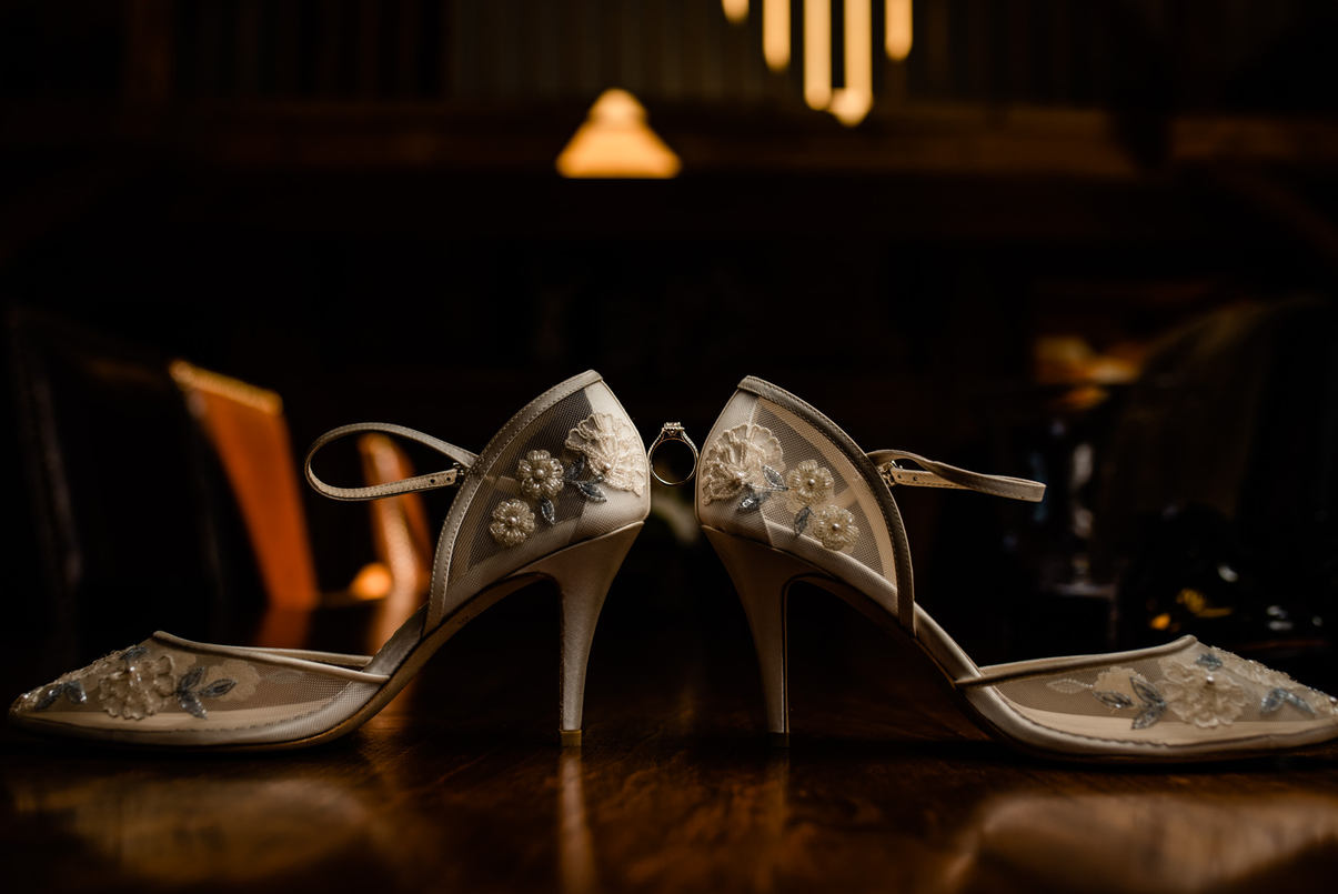 Wedding Shoes Detail Photographs of Wedding at Four Peaks Venue in Westin Landgrove Vermont Fall Foliage Wedding Photographed by Anne-Marie Photography