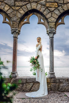 Bride Portrait Photography at Hammond Castle wedding in Gloucester Massachusetts