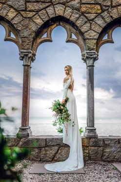 Bride Portrait Photography at Hammond Castle wedding in Gloucester Massachusetts