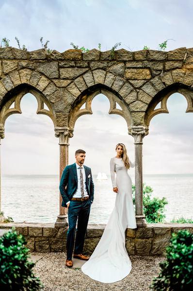 Hammond Castle wedding in Gloucester Massachusetts Bride and Groom Seaside Portait