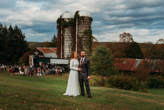 Bride and Groom Farm Wedding Photography at Rockingham Hill Farm in Vermont Fall Foliage Wedding Photograph by Anne-Marie Photography