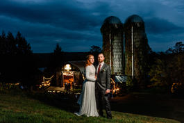 Night Shot Bride and Groom Wedding Photography at Rockingham Hill Farm in Vermont Fall Foliage Wedding Photograph by Anne-Marie Photography
