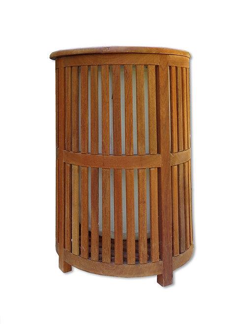 Cylinderformet vasketøjskurv af massiv teak