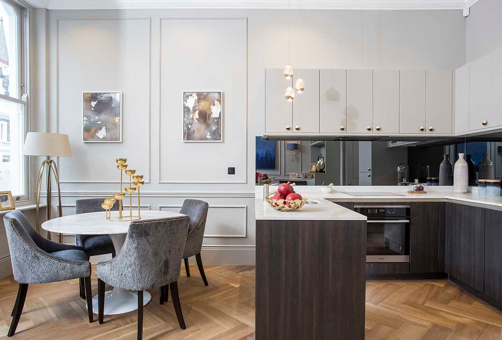 Spencer House, a Development by Mood London - we used classic panelling that reflected on the period of the property, paired with a contemporary kitchen and a mix of classic and modern furniture.
