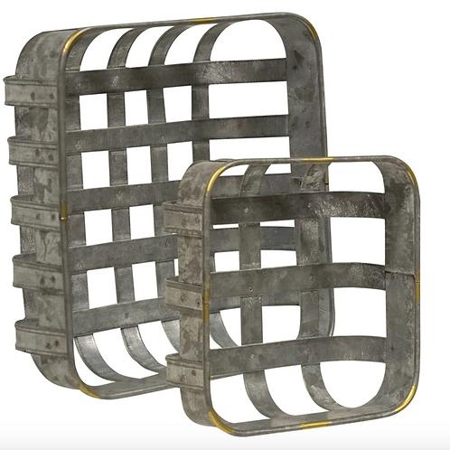 2/Set Washed Galvanized Metal Baskets