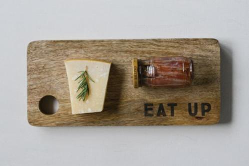 "Mango Wood Cutting Board ""Eat Up"""