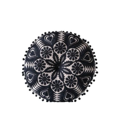 Chambray Embroidered Pillow w/ Pom Pom Trim