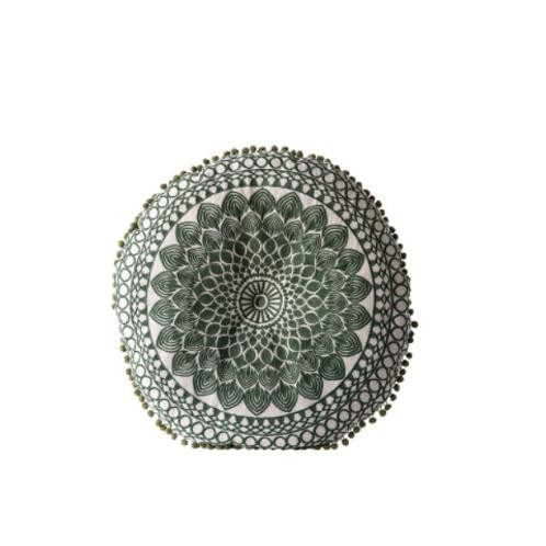 Embroidered Pillow w/ Pom Pom Trim