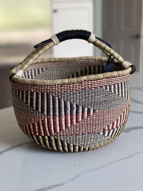 African Bolga Basket - Neutral Round Large