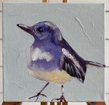 BlueFinch_Bird_6X6_Michelle_Palmer_Art_S