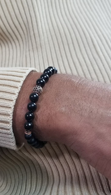 Shunghite & Onyx Bead Bracelet with Rose Gold Closure.jpg