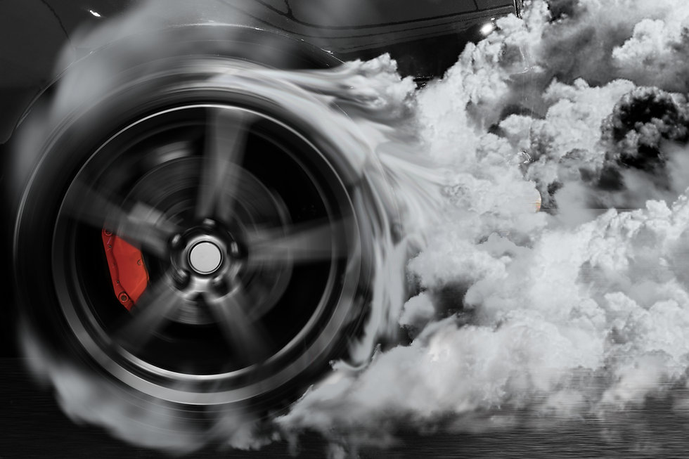 Sport car burns tires with drifting and