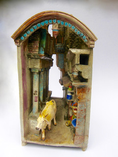 Cow in a Passage - ceramic
