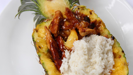 Hawaii for A Night: Chicken Teriyaki Pineapple Bowls