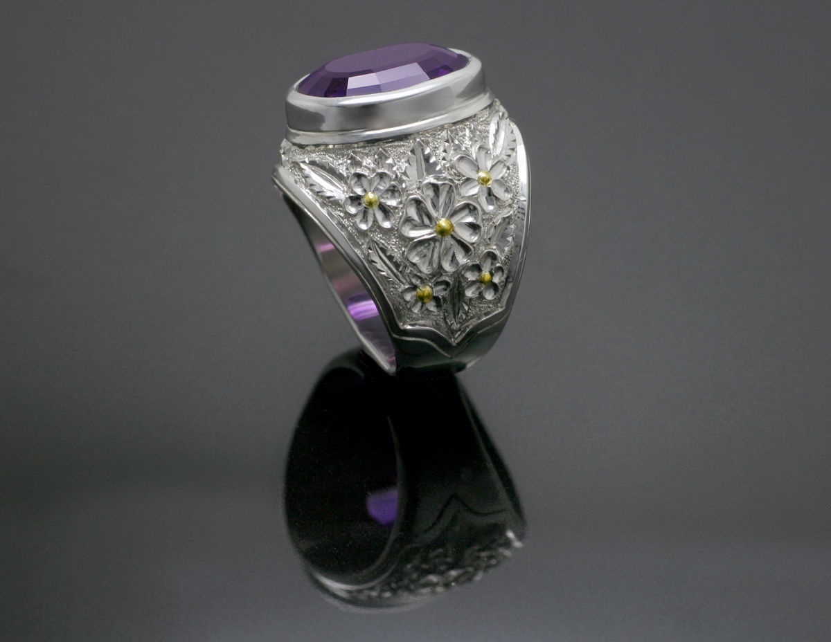 Silver and Fine Gold Amethyst Ring