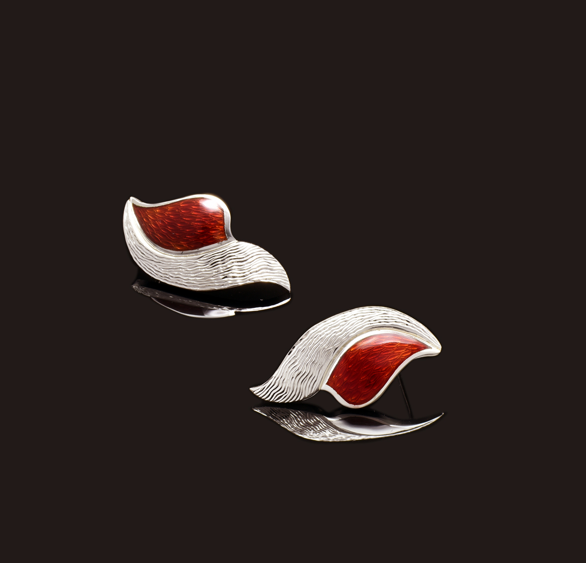 Red Enamel Earrings