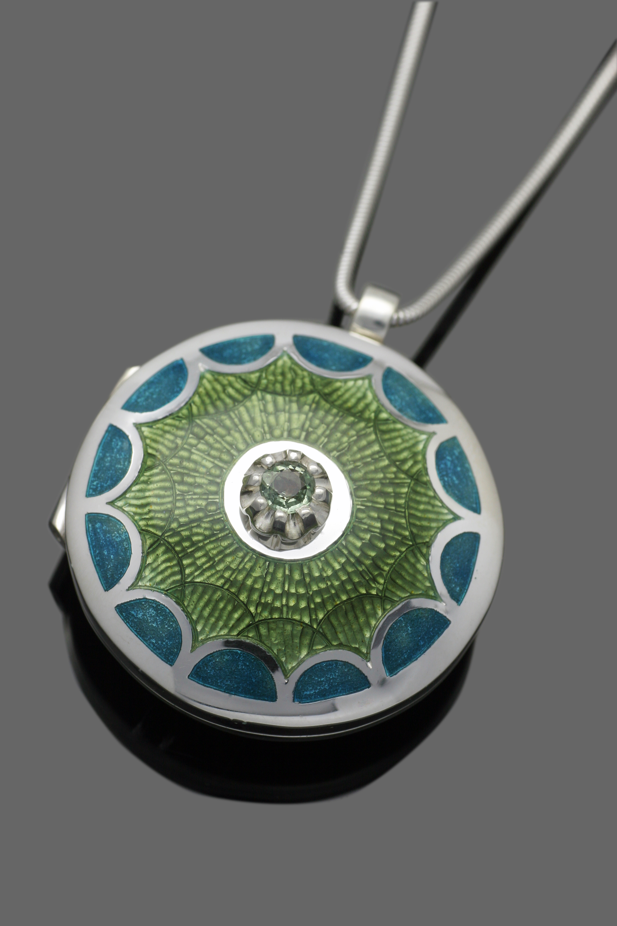 Green Sapphire and Enamel Locket