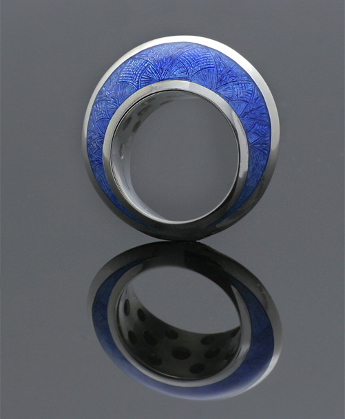 Silver Domed Enamel Ring