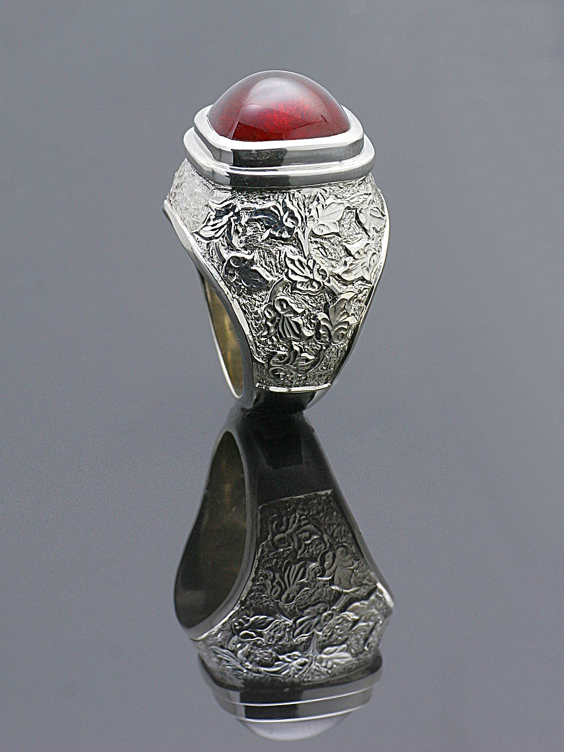 Hand Engraved Large Garnet Ring