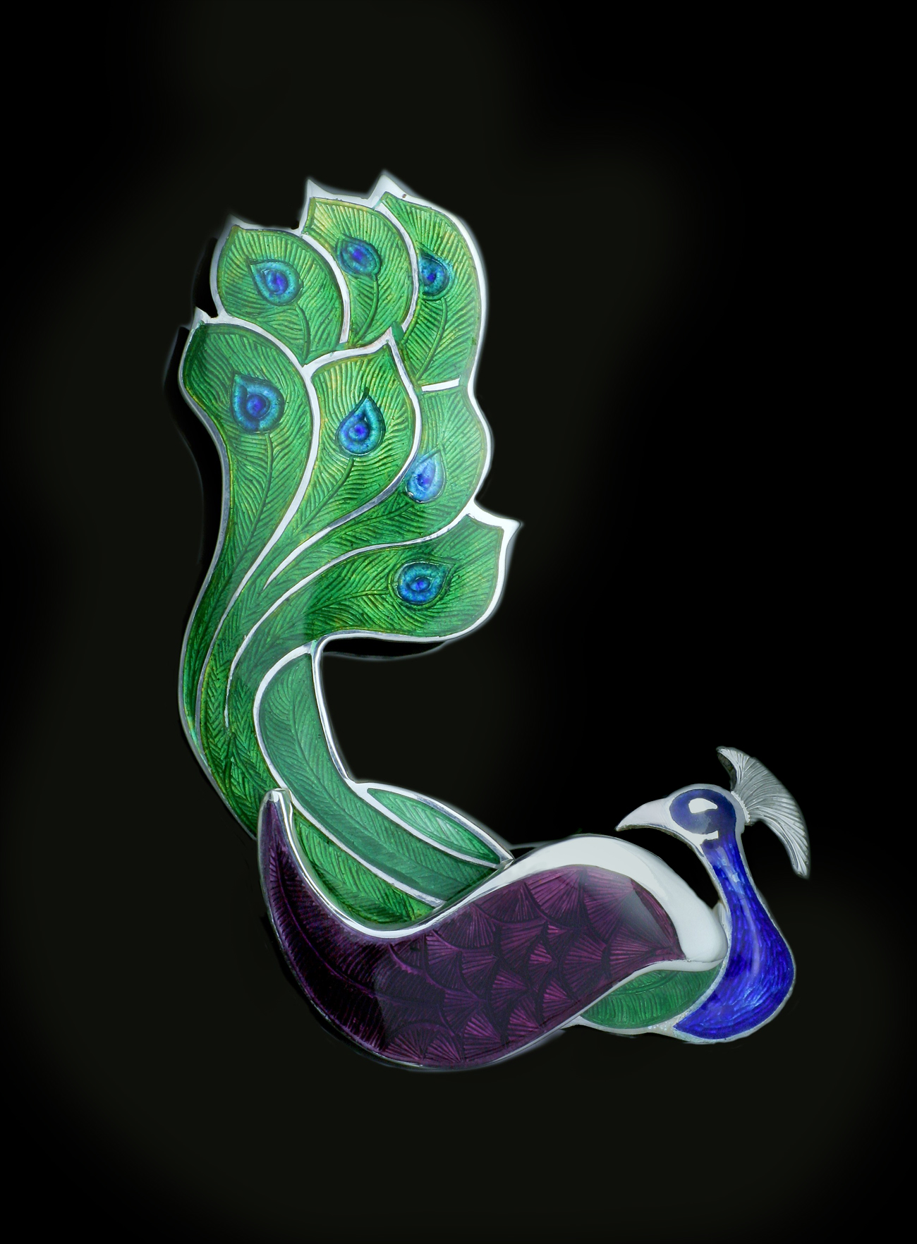 Peacock Enameled Brooch