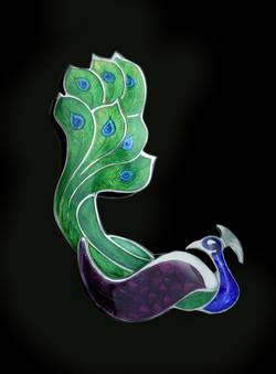Peacock Enameled Brooch