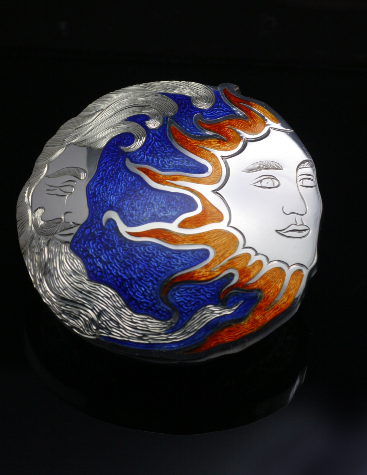 Sun and Moon Enameled Brooch