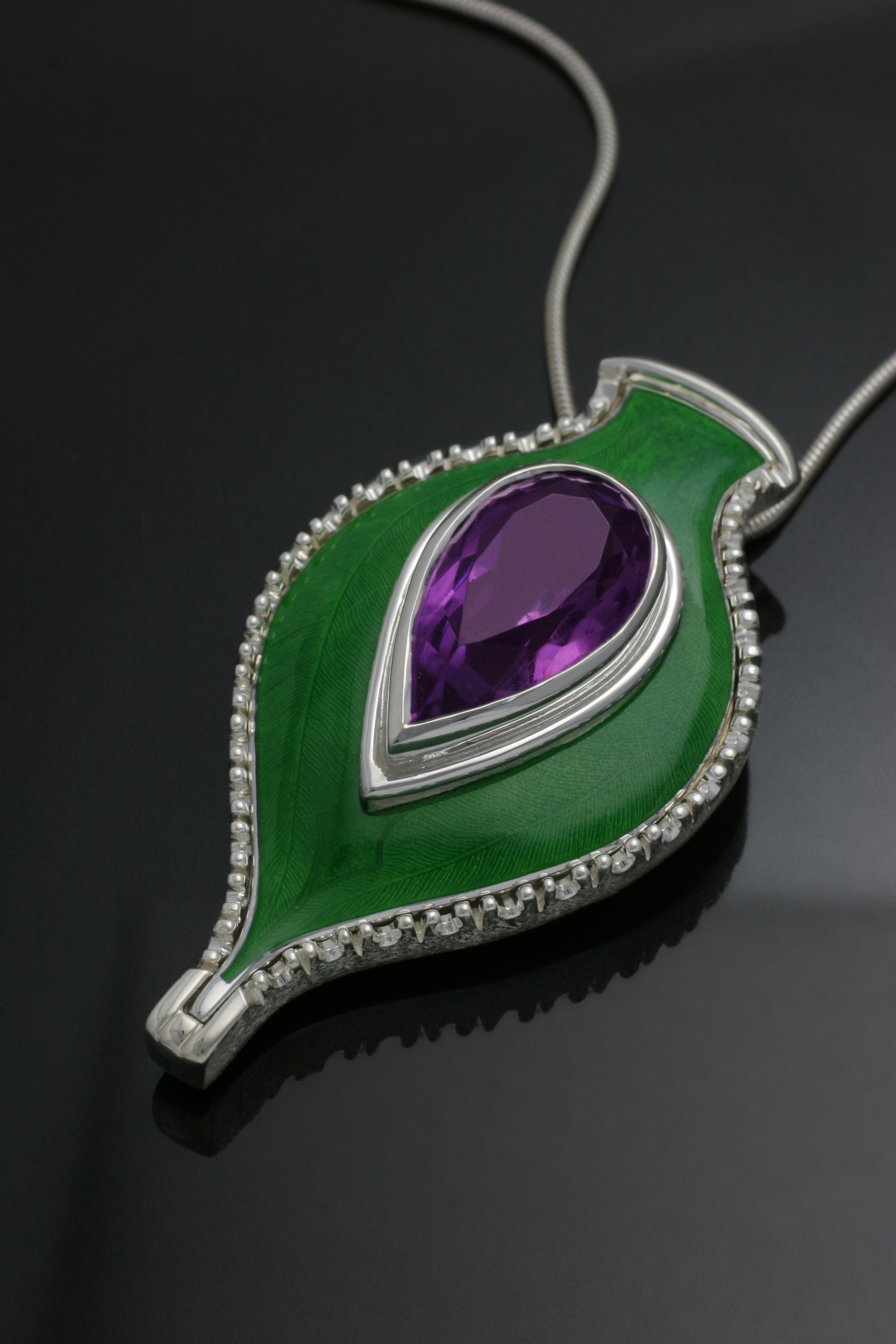 Amethyst and Enamel Pendant