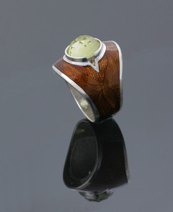 Silver Enamelled Stoned Ring