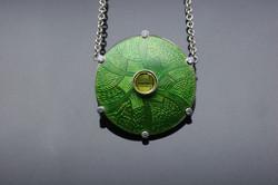 Silver Green Enamel Pendant