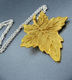 Hand Engraved Leaf Pendant