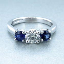 Diamond and Sapphire Trilogy Ring