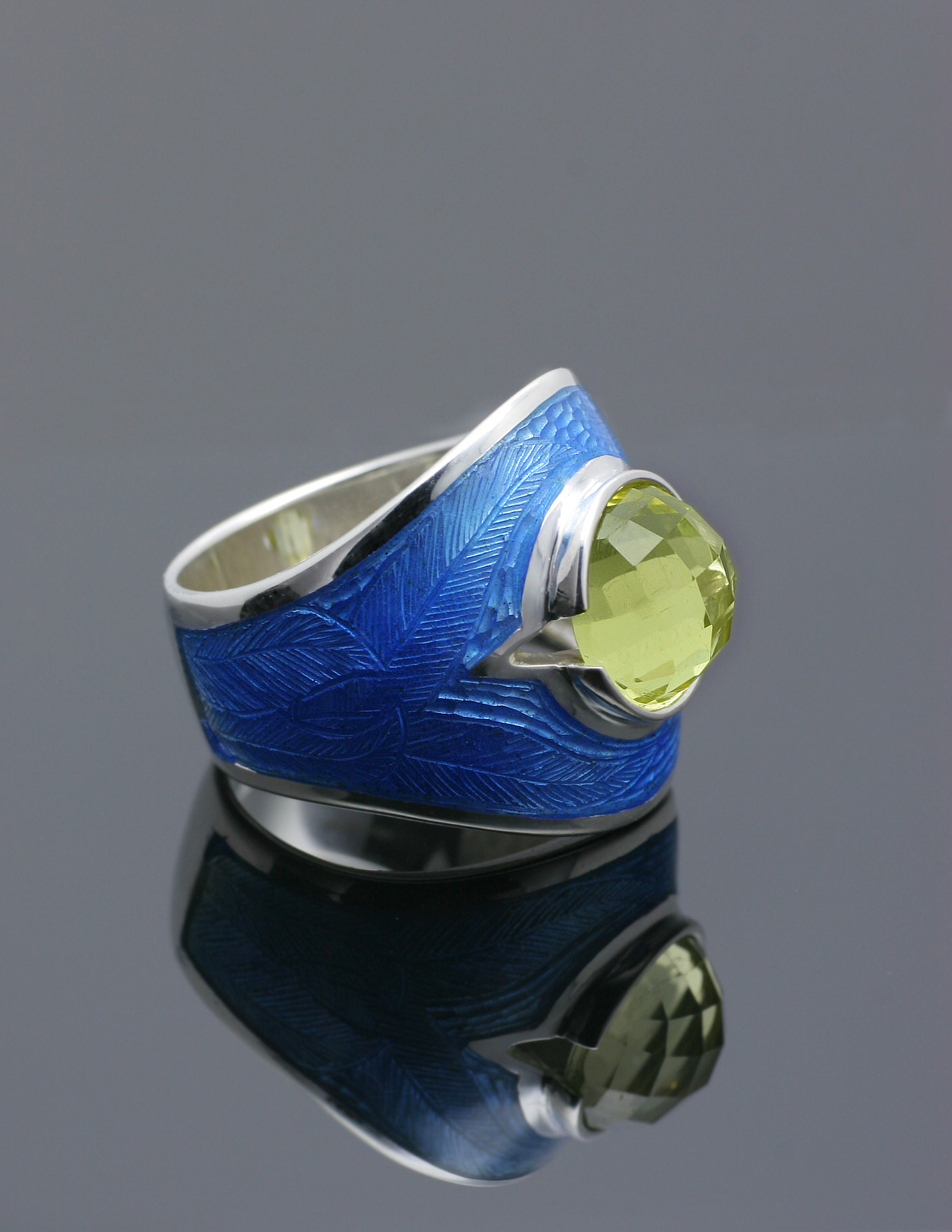 Silver Blue Enamel Stoned Ring