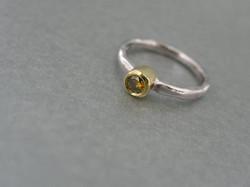 Rub-over Yellow Diamond Ring