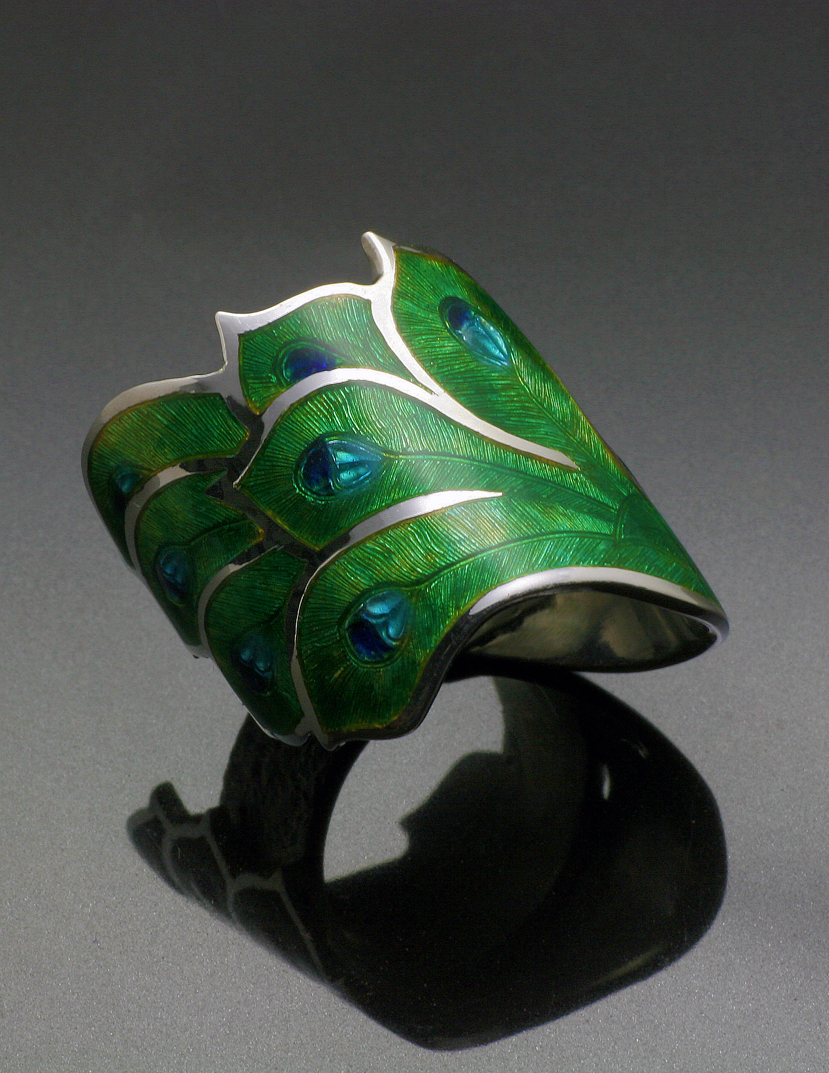 Peacock Enameled Ring