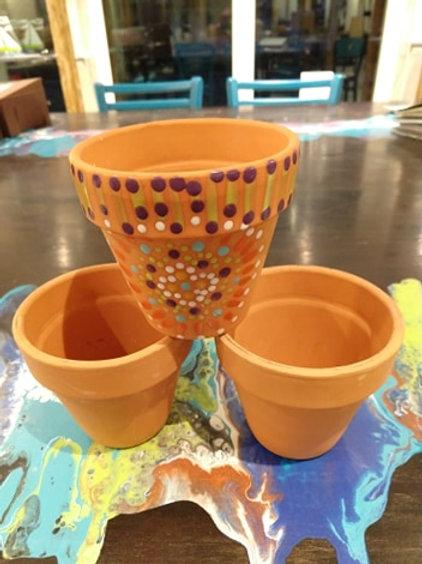 "Spring Flower Pot 4"" w/ Tray"