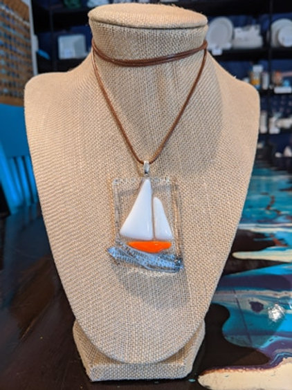 Sailboat Pendant- Orange