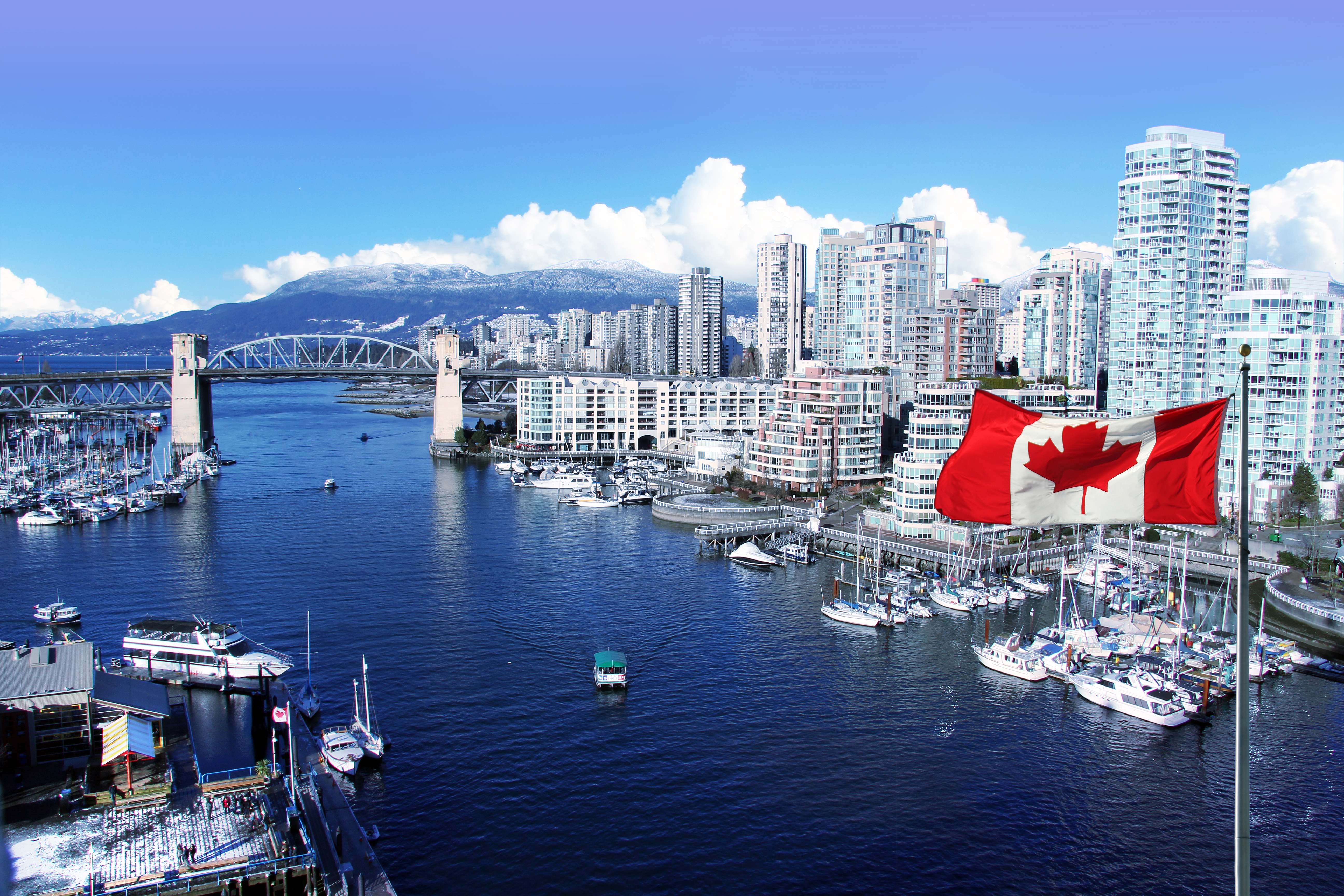 Canadian flag in front of view of False